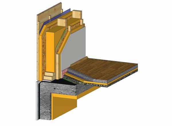 Przykładowy układ warstw ściany zewnętrznej i podłogi na płycie (Rys. 1)